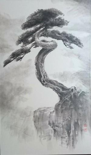 水墨画「 松蔭 」しょういん / Pine teaching