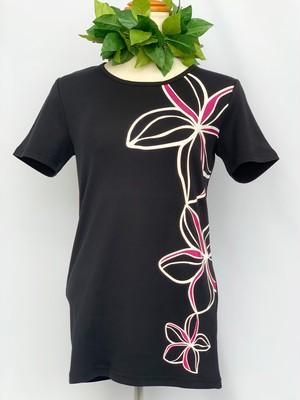 【Mauna loa/マウナロア/MMJ】ストレッチTシャツ 半袖 ピンクプルメリア フラ レッスン着に最適○