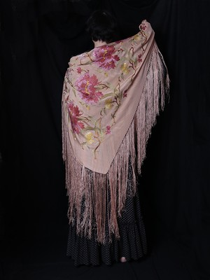 1890s Embroidered Silk Piano Shawl / Pink