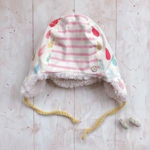 あったか冬帽子(中サイズ・52くらい)キナリしずくとボーダー
