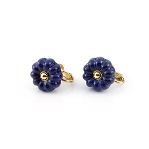 """flower cushion_earrings """"lapis"""""""