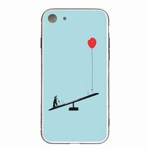 [強化ガラス仕上げ iPhone ケース]  ペンギンと風船とシーソー