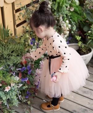 【即納/送料無料】好評再入荷‼️ピンク色⭐︎ドット柄 長袖ワンピース 可愛いベビードレス ピンク