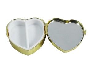 B級品3個セット 鏡付き 携帯ピルケース ハート型 ゴールド