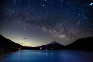 富士山と天の川(本栖湖)