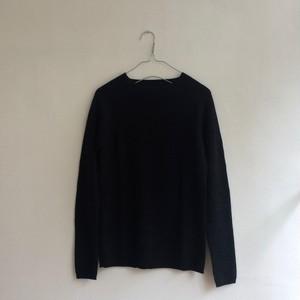 エフスタイル ホールガーメントのリブ編みニット<ブラック>