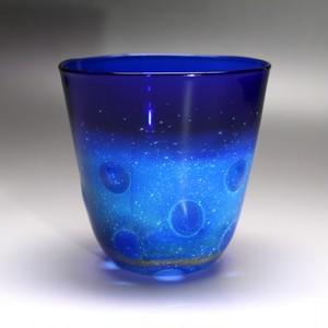 glass 銀河水玉タンブラー blue