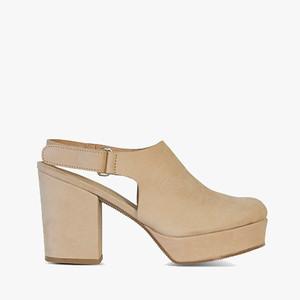 Deux Souliers (サンプルコレクション) - Plain Heel #1 バックストラップ プラットフォーム ヒール サンダル (ヌード) 【スペイン】【靴】【チャンキーヒール】【インポート】【VOGUE】