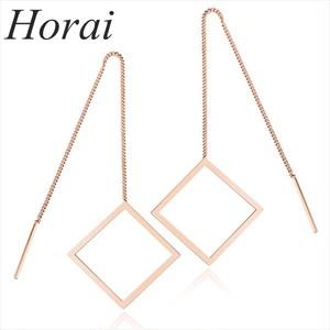 【Horai】 ピアス レディース ステンレス ドロップ シンプル スクエア ロング ローズゴールド GE336 【お取り寄せ商品】