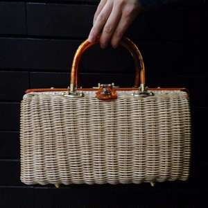 Vintage lucite handle rattan bag ヴィンテージ ルーサイトハンドル ラタンバッグ ストローバッグ