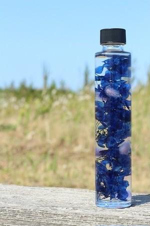ハーバリウム 円柱ボトル(濃いブルー)EBL01