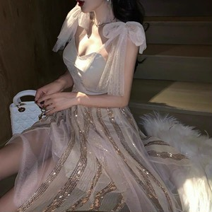dot see-through ribbon dress