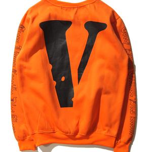 ストリート系ブランド パーカー 芸能人愛用  プルオーバー 衣装 Vプリント  丸えり 大人気 上着 かっこいい