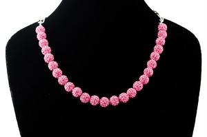 ラインストーンパヴェボールネックレス pve-neckrose25 ローズ(ピンク) パヴェ キラキラ