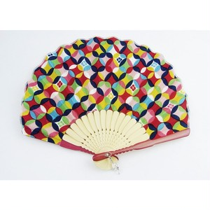 レディースシェル扇子 色七宝 赤 (扇子袋付き)