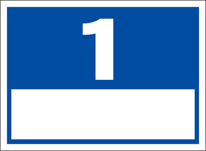 シンプル看板「番号票1(白窓付)」屋外可・送料無料