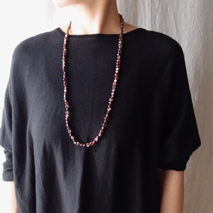 バロックパールのロングネックレス・baroque pearl/brown