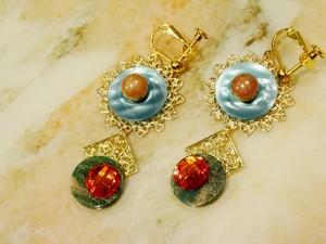 pierce/earring ゴールドxエメラルドブルー
