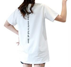 バックプリントTシャツ Tシャツ カットソー バックプリント シンプル スポーティ スリット カジュアル ミディ丈 お出掛け デイリー