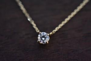 一粒 4本爪 ダイヤモンドネックレス / 0.207ct / D / VVS1 / 3EX H&C / K18YG