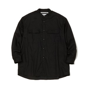 WIDE SILHOUETTE BAND COLLAR SHIRT -BLACK