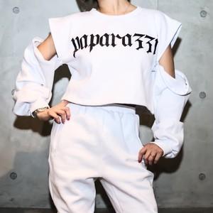 Shoulder short zip pullover【White】