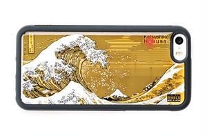 FLASH 神奈川沖浪裏 基板アート iPhone SE/5/5s ケース 黒【東京回路線図A5クリアファイルをプレゼント】