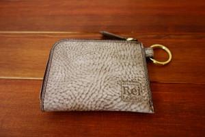イタリアンレザーのコンパクトな御財布 グレー ワックス 仕上げ