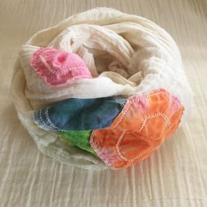 ダブルガーゼインド綿の染め布パッチワークストール