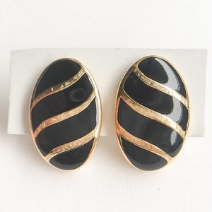 """Trifari"" black enamel pierce[p-520]"