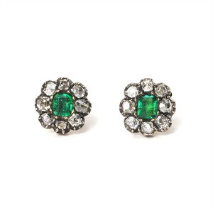 Georgian Emerald Flower Cluster Stud Earrings