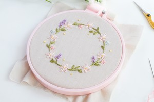 【図案DL】Floral wreath embroidery pattern for beginner(初心者向け花のリース刺繍図案)