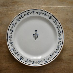 Longwy blue flower faience plate