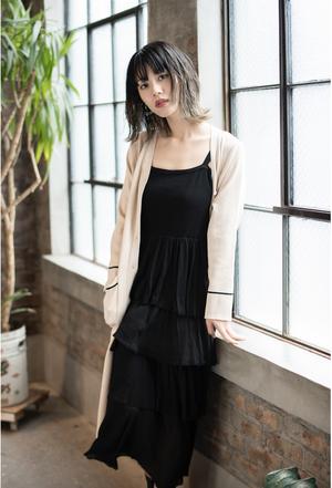 Long Knit Cardigan Dress / カーディガン風ロングニットワンピース