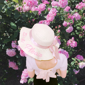ribbon  straw  hat 2color