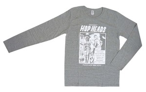 """HOP HEAD""プリントLong Sleeve Tシャツ【グレー/ネイビー】"