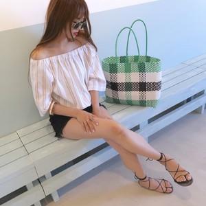 【即納】stripe オフショル tops
