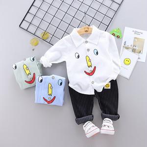 【セットアップ】簡潔 コットン プリント 折り襟 長袖 レギュラー丈 子供服 男の子 セットア2点セットップ24838001
