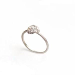 一点ものの減を溶かし固めた銀とパールのリング Melted ring (violin, viola)  pearl #2