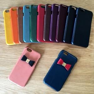 *イタリアンレザーブッテーロのリボン付きiPhoneカバー/iPhoneケース Xs対応