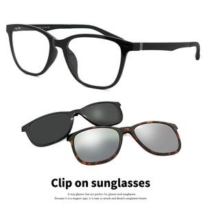 クリップオン サングラス フレーム メンズ メガネ 3123-1 マグネット式 偏光レンズ ミラーレンズ 軽量 ウェリントン型 黒ぶち