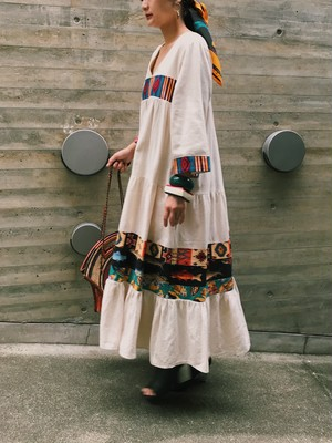 70s white mexican fish ,native & shoes print dress ( ヴィンテージ  メキシカン ホワイト 魚柄 靴柄 ネイティブ柄 ワンピース )