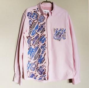メンズ ボタンダウンフランネルシャツ ジプシージャズ柄ピンク色 SHI-0015
