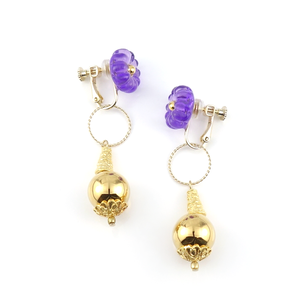 "【2way】 flower cushion_earrings ""purple rain"" gea07"