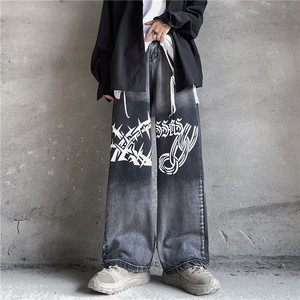 【ボトムス】ファッションプリントゆるリラックス韓国系ワイドパンツデニムパンツ35783999