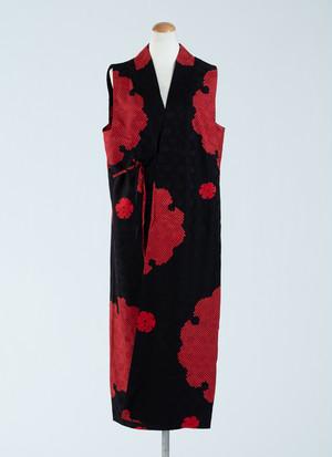 雪輪模様 絞り風 スリーブレスドレス 着物 正絹製