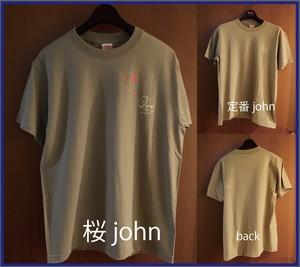 桜 john T半袖、定番 john T半袖(サンドカーキ)