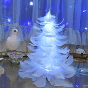 【光る羽ツリー】テーブルサイズ LEDライト付き完成品 feather tree light 002