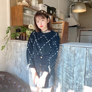 Black ribbon stitch knit