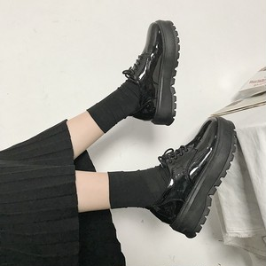 【flat shoes】solid color fashion simple PU student loafer